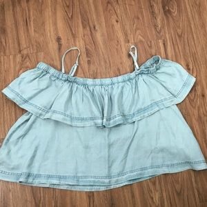 FREE PEOPLE Blue Sky Chambray Cropped Top Large